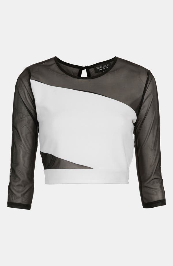 Alternate Image 1 Selected - Topshop Mesh Slash Crop Top