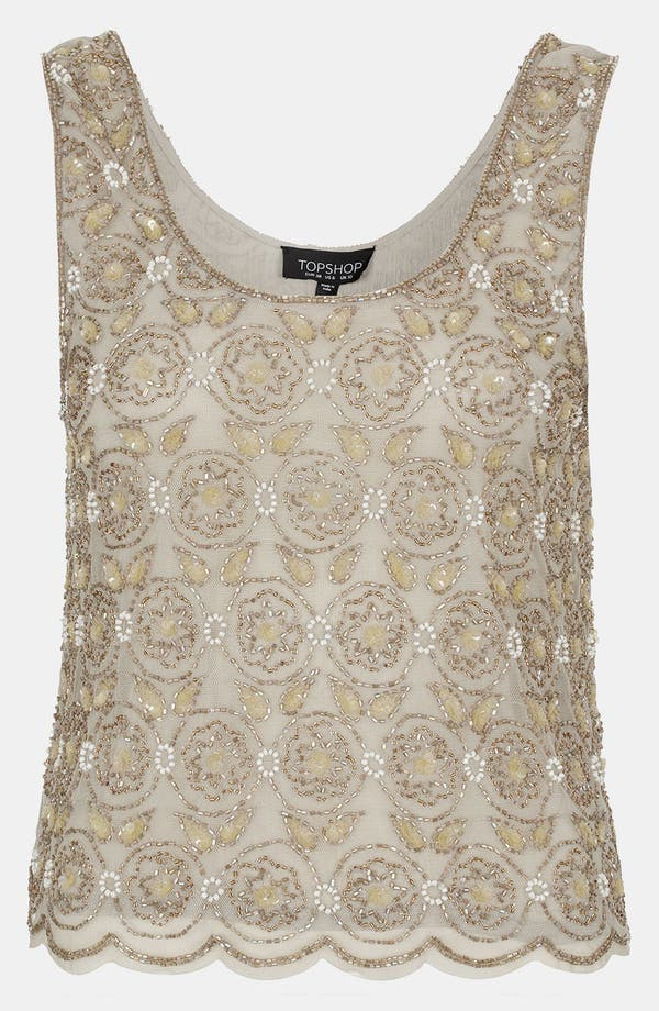 Alternate Image 1 Selected - Topshop Floral Beaded Tank