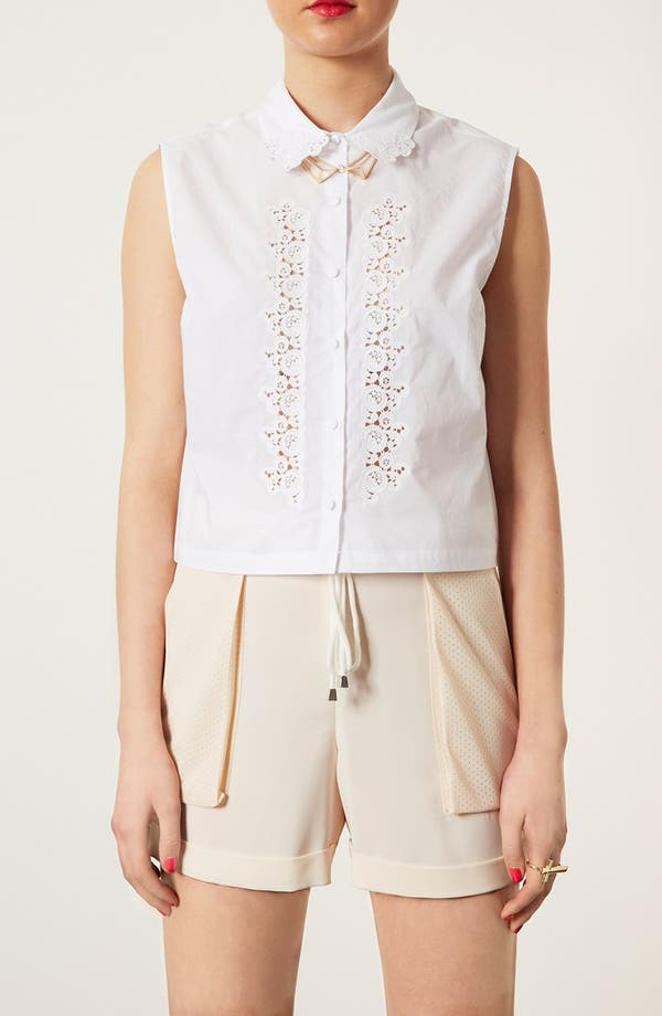 Main Image - Topshop Embroidered Cutout Sleeveless Shirt