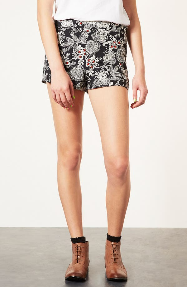 Main Image - Topshop Beaded Print Shorts