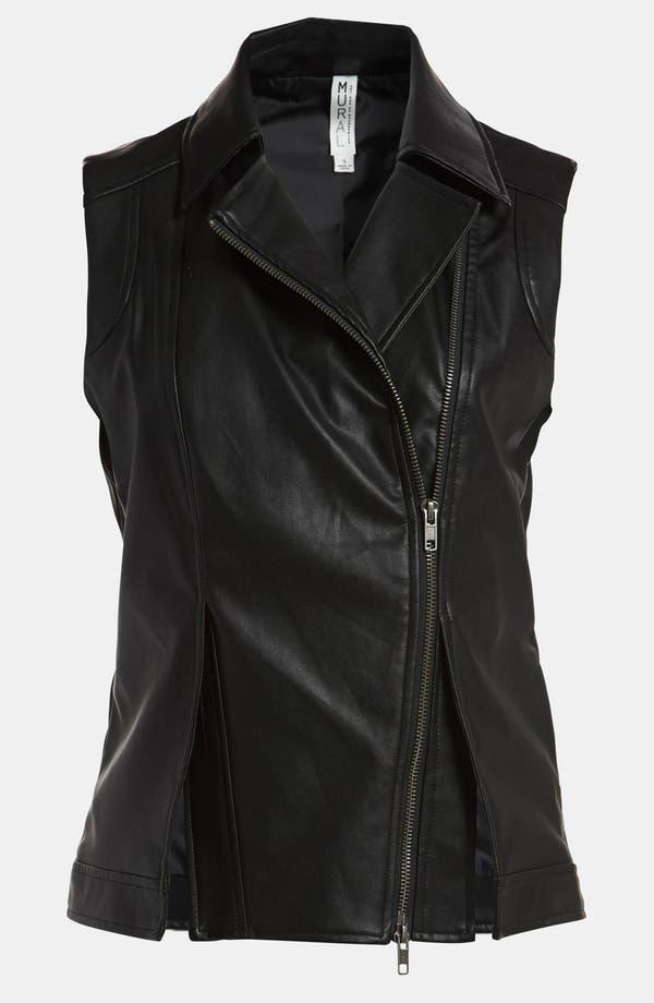 Faux Leather Vest,                         Main,                         color, Black