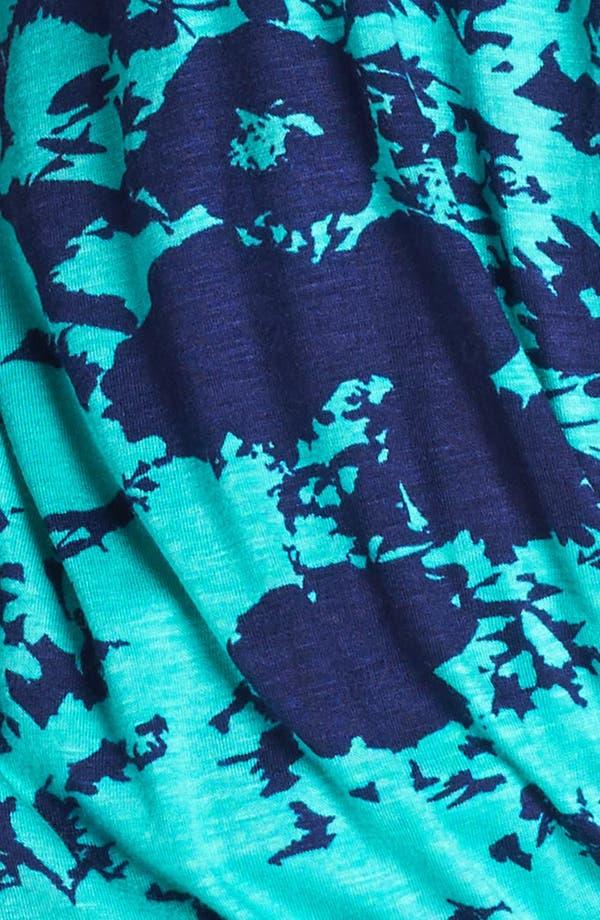 Faux Wrap Top,                             Alternate thumbnail 3, color,                             Teal/ Navy Garden