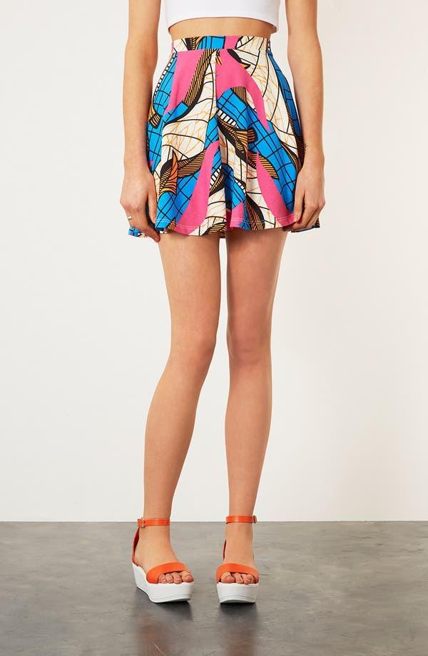 Main Image - Topshop Fluorescent Print Skater Skirt