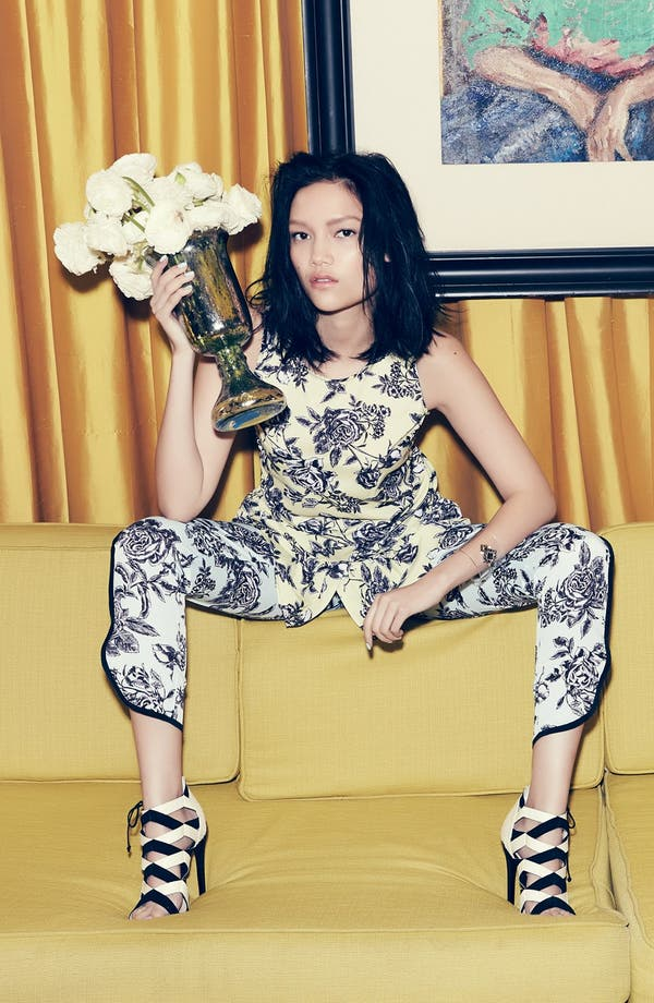 Alternate Image 4  - Wayf Tuxedo Stripe Floral Pants
