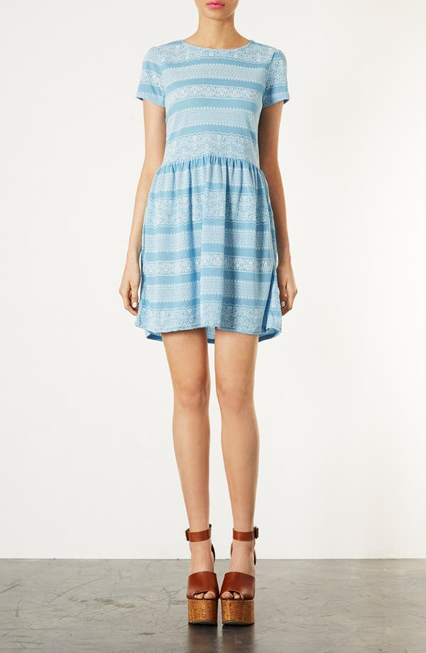 Alternate Image 1 Selected - Topshop Lace Print Skater Dress