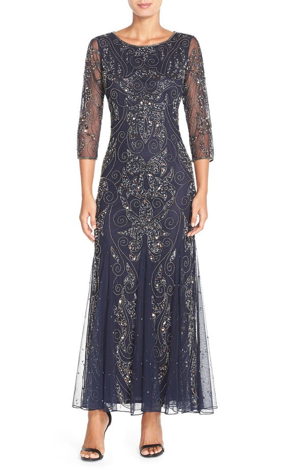 Pisarro Nights Embellished Mesh Gown Regular Petite Nordstrom