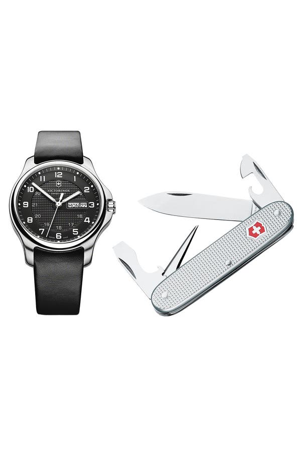 Alternate Image 2  - Victorinox Swiss Army® 'Officer's' Leather Strap Watch with Knife
