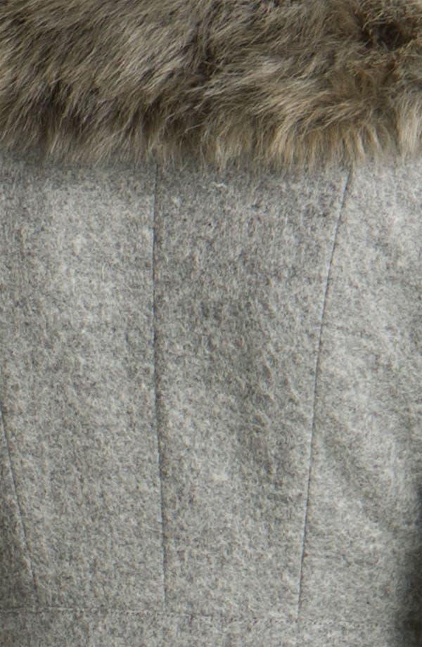 Alternate Image 3  - Tracy Reese Peplum Felt Coat with Faux Fur Trim