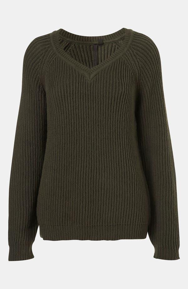 Alternate Image 1 Selected - Topshop Boutique Ribbed V-Neck Sweater