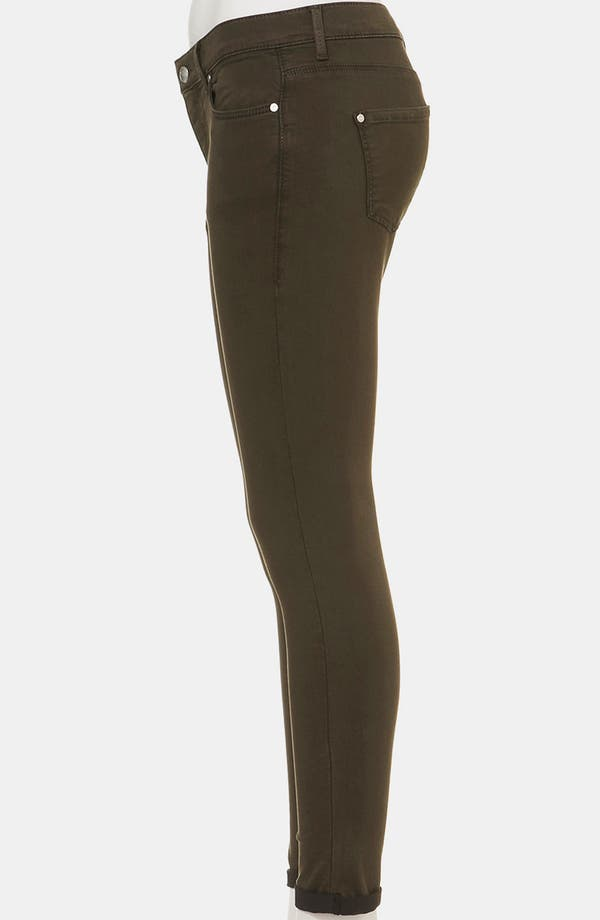 Alternate Image 4  - Topshop Moto 'Leigh' Skinny Jeans (Dark Khaki) (Petite)