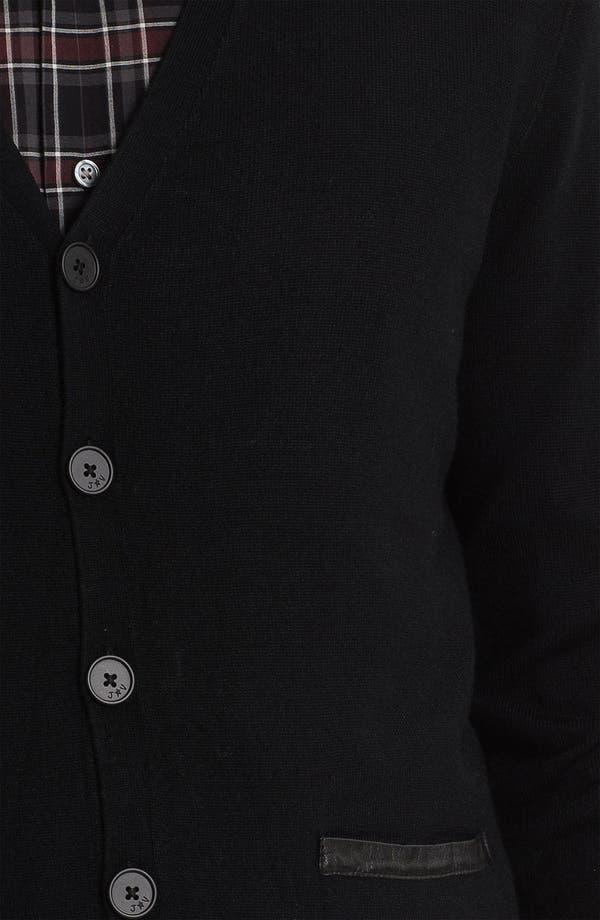 Alternate Image 3  - John Varvatos Star USA Leather Trim Cardigan