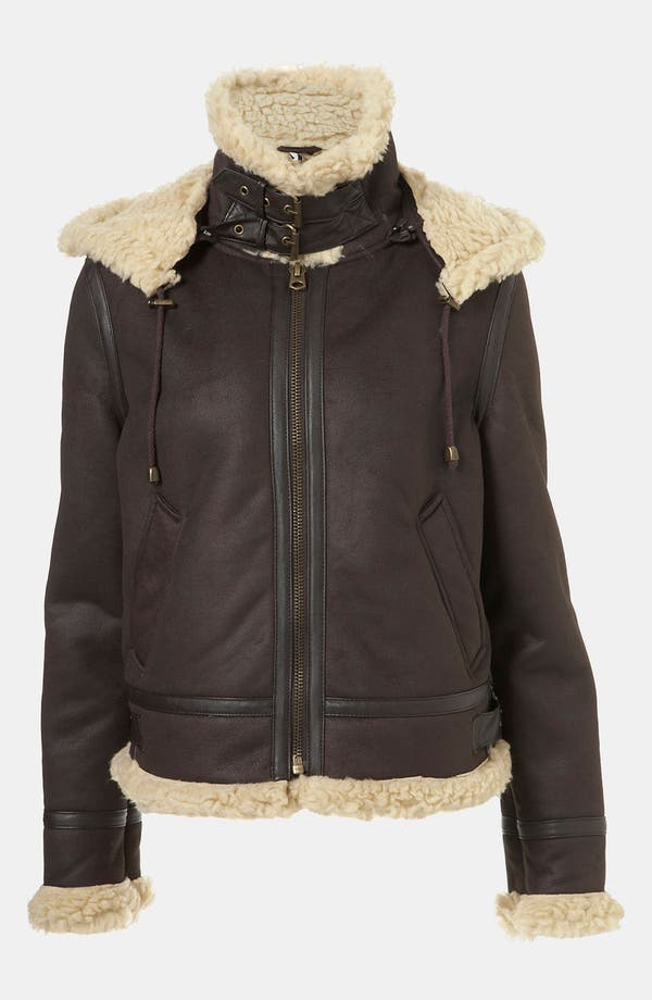 Alternate Image 4  - Topshop 'Carlos' Faux Shearling Hooded Flying Jacket