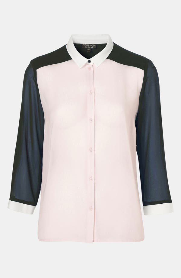 Main Image - Topshop Sheer Colorblock Blouse