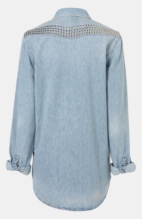 Alternate Image 3  - Topshop 'Lionel' Studded Denim Maternity Shirt