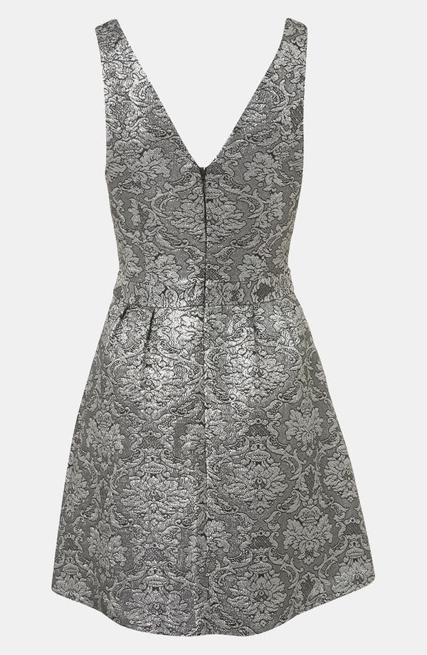 Brocade Cutout Dress,                             Alternate thumbnail 2, color,                             Charcoal