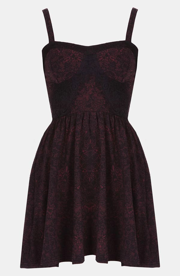 Alternate Image 1 Selected - Topshop Lace Print Bustier Dress