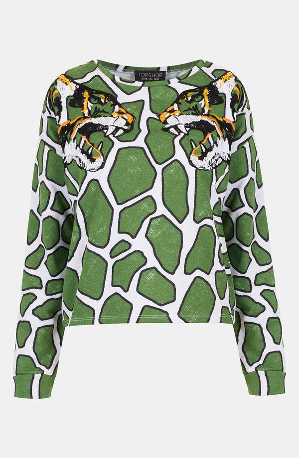 Main Image - Topshop Embroidered Tiger Print Sweatshirt