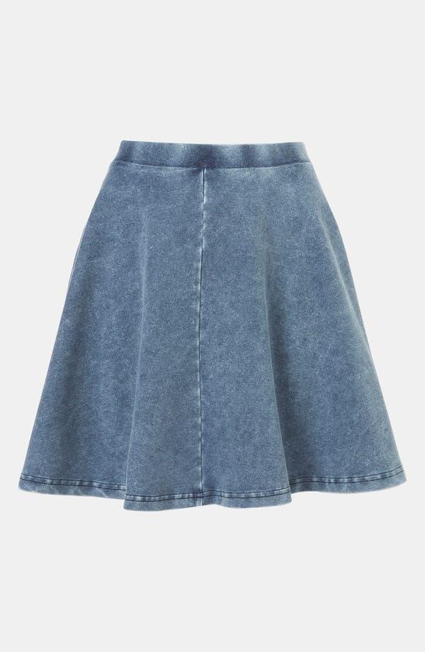 'Andie' Denim Skater Skirt,                             Main thumbnail 1, color,                             Blue