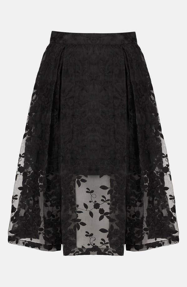 Alternate Image 3  - Topshop Floral Embroidered Organza Skirt