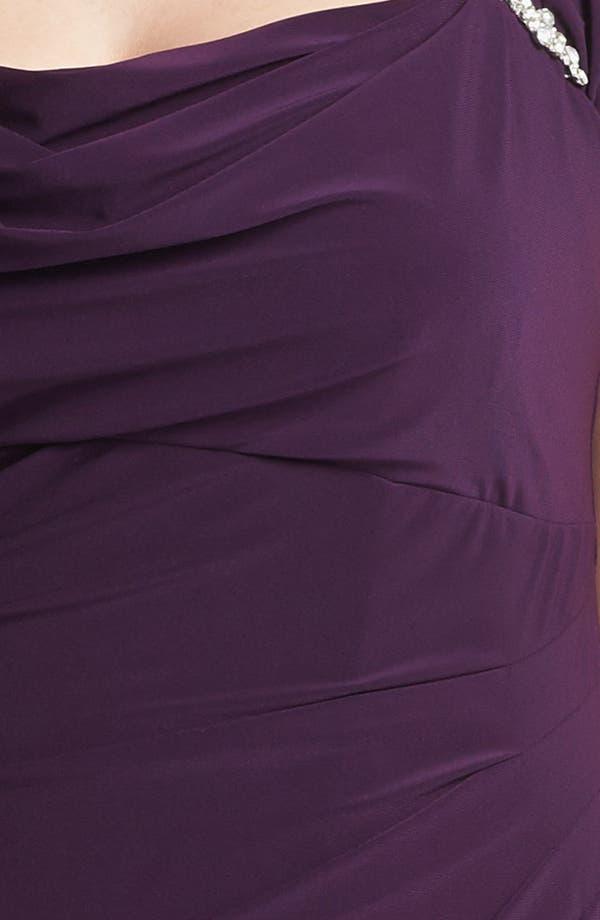 Alternate Image 3  - Xscape Ruched Cowl Neck Dress (Plus Size)