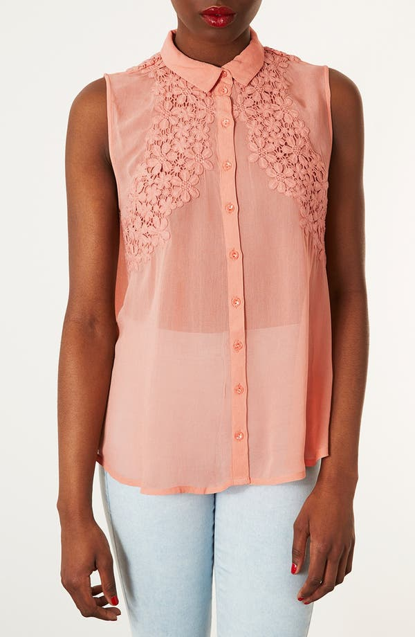 Main Image - Topshop Floral Crochet Sleeveless Shirt