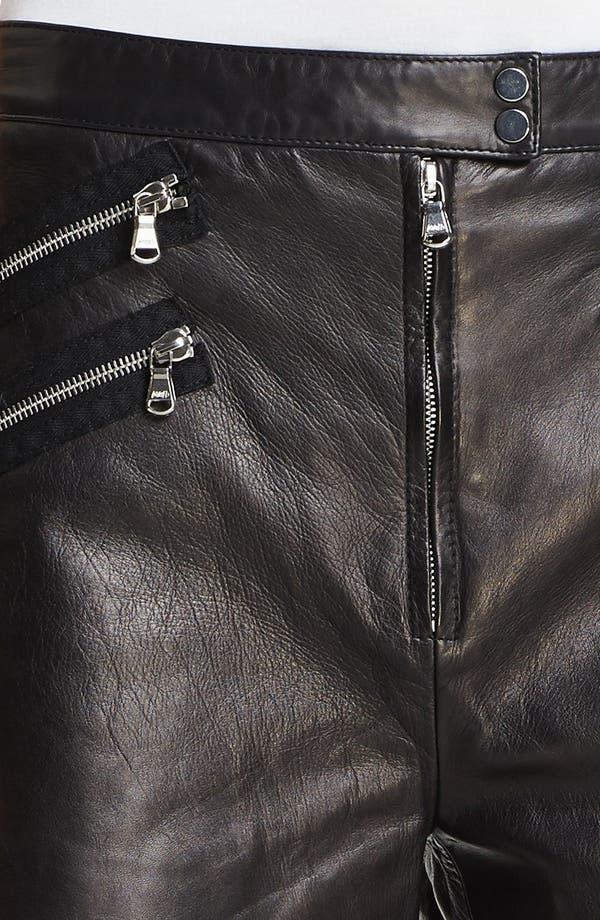 Multi Zip Leather Shorts,                             Alternate thumbnail 3, color,                             Charcoal