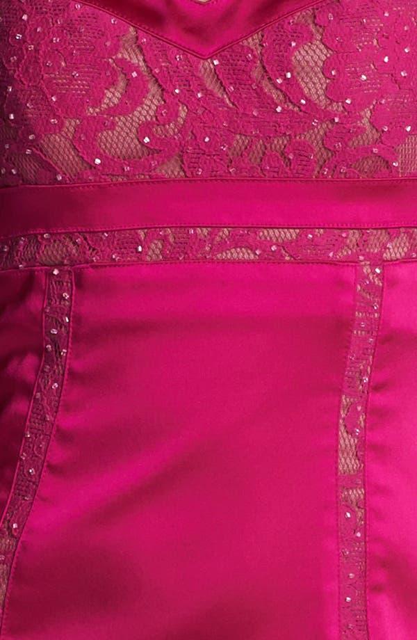 Alternate Image 3  - Aidan Mattox Lace Inset Satin Sheath Dress (Online Only)