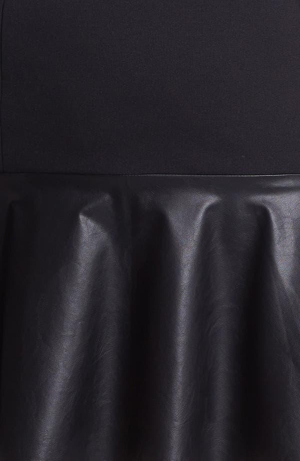 Alternate Image 3  - Halogen® Faux Leather & Ponte Knit Skirt (Plus Size)