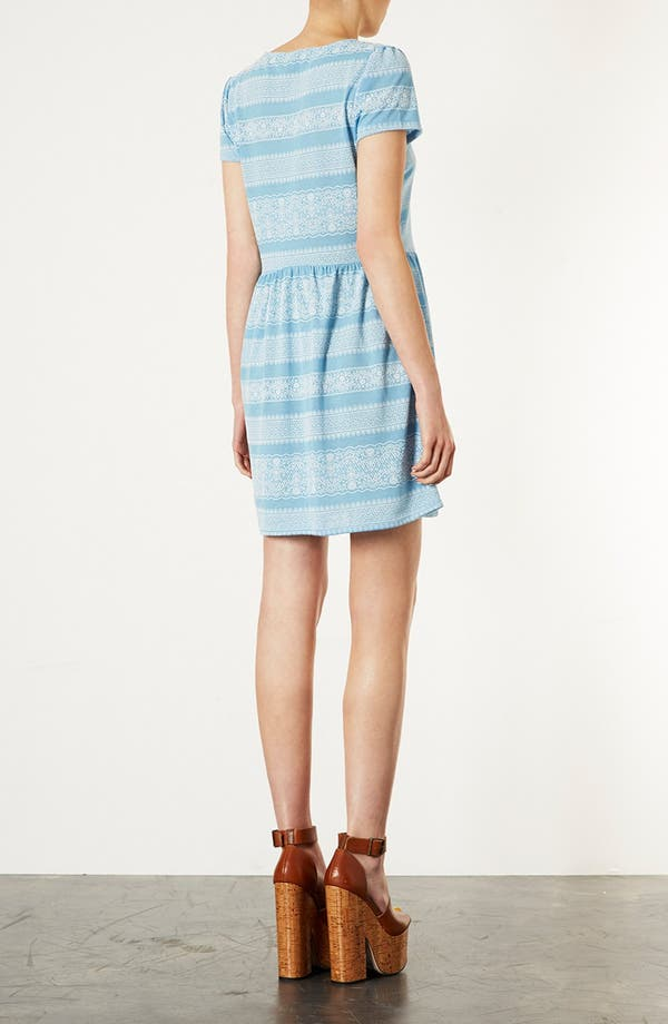 Alternate Image 2  - Topshop Lace Print Skater Dress