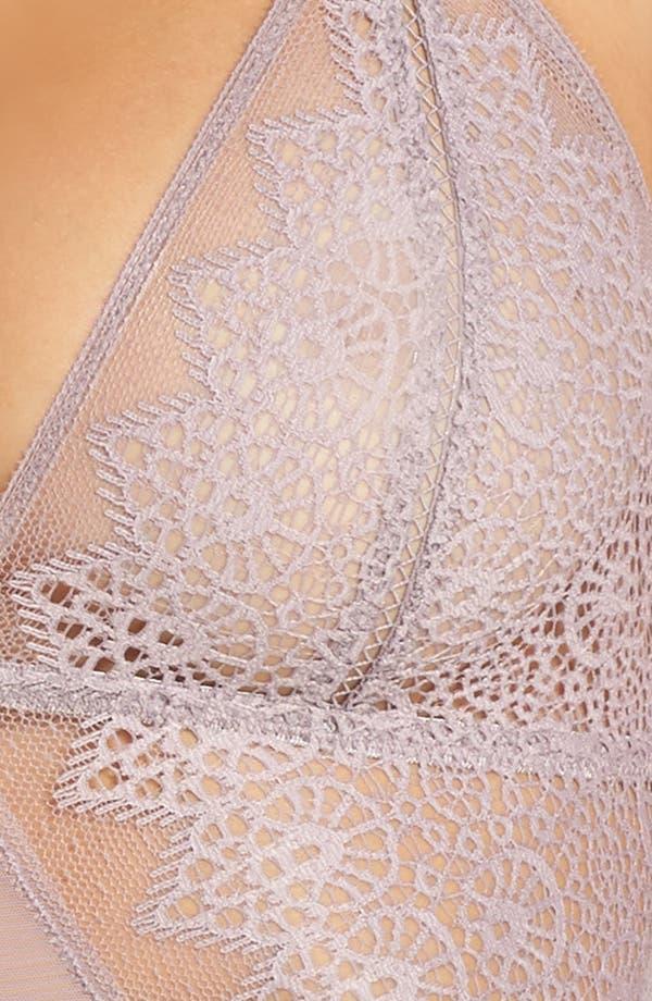 Longline Lace Triangle Bralette,                             Alternate thumbnail 5, color,                             Violet Dust