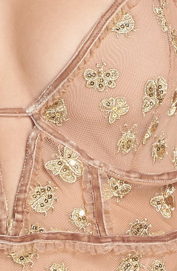 Golden Garden Embroidered Bodysuit,                             Alternate thumbnail 5, color,                             Bee