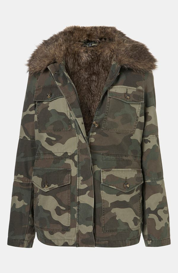 Alternate Image 1 Selected - Topshop Faux Fur Lined Camo Utility Jacket