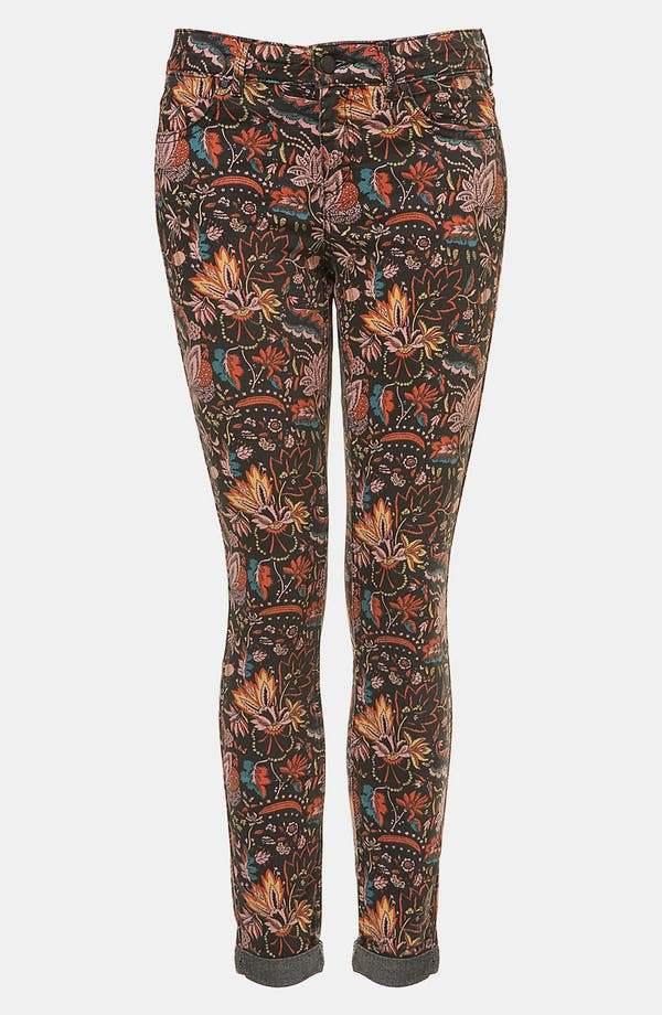 Main Image - Topshop Moto 'Scandi' Floral Print Skinny Jeans