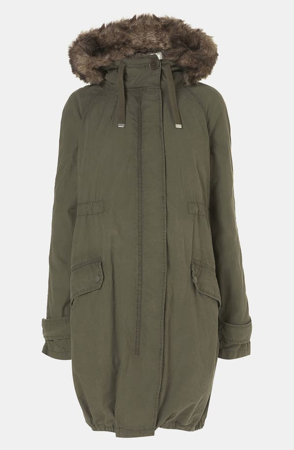 Alternate Image 1 Selected - Topshop 'Benny' Faux Fur Trim Maternity Parka