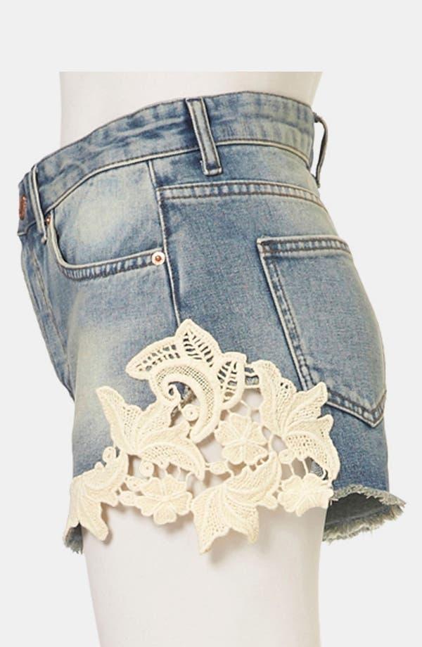 Alternate Image 4  - Topshop Moto 'Ruthie' Crochet Trim Denim Shorts
