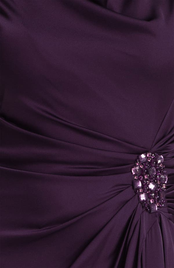 Alternate Image 3  - Patra Cowl Neck Side Slit Satin Gown