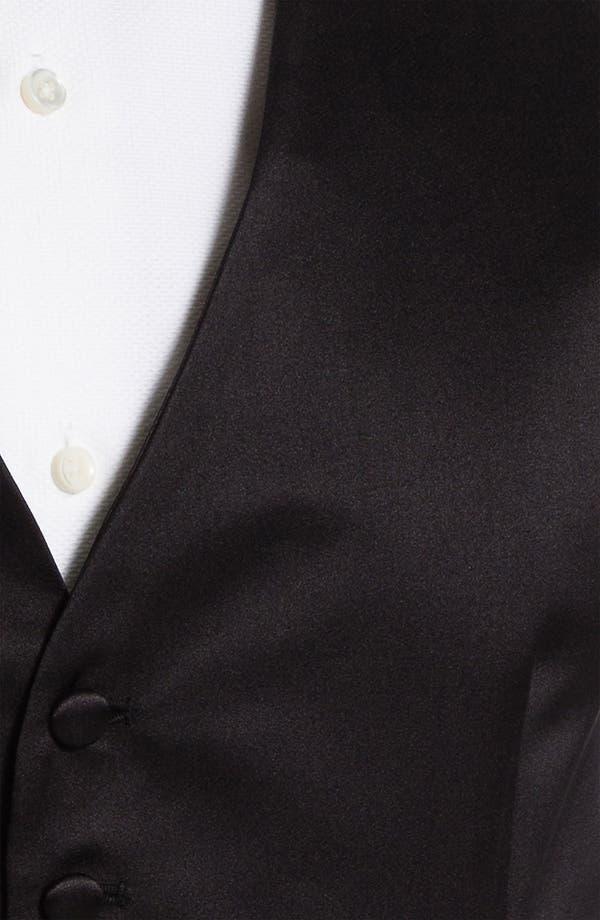 Silk Vest,                             Alternate thumbnail 3, color,                             Black Satin