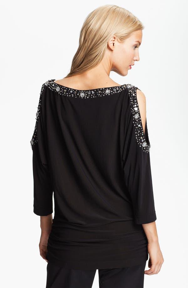 Alternate Image 2  - Alex Evenings Embellished Neck Split Shoulder Jersey Blouse