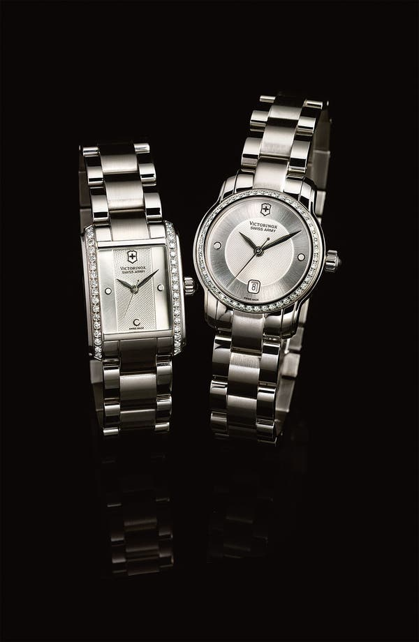 Alternate Image 2  - Victorinox Swiss Army® 'Vivante' Rectangular Diamond Case Bracelet Watch, 21mm x 30mm