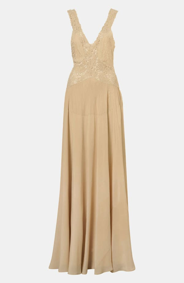 Main Image - Topshop Crochet Trim Silk Gown
