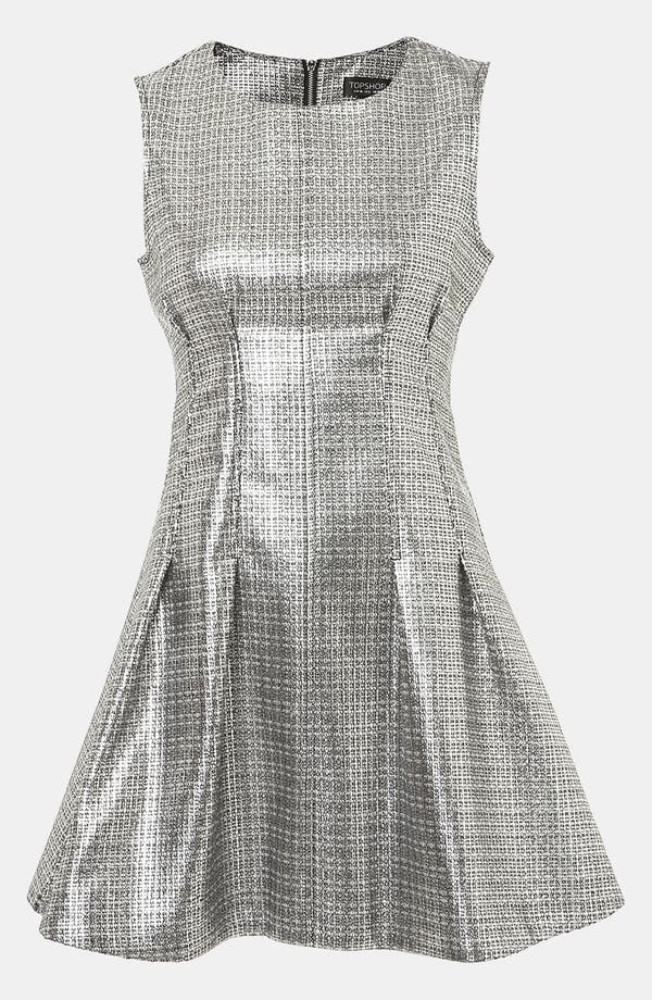 Main Image - Topshop Sleeveless Metallic Shift Dress