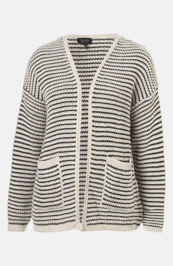 Main Image - Topshop Stripe Textured Stitch Cardigan