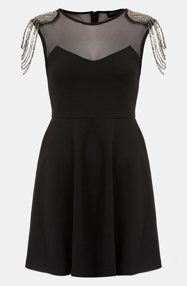 Main Image - Topshop Fringe Embellished Skater Dress