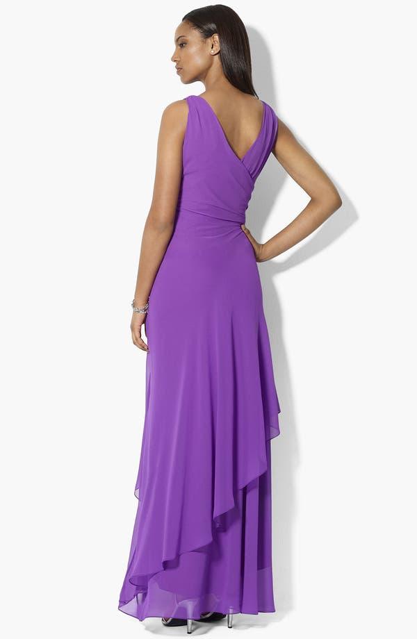 Alternate Image 2  - Lauren Ralph Lauren Asymmetric Ruffled Chiffon Gown