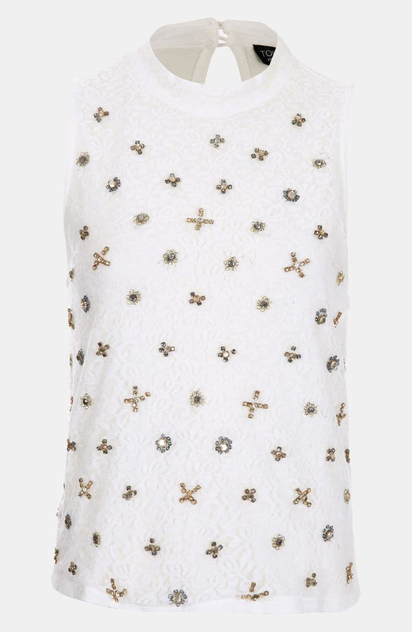 Main Image - Topshop Crystal Embellished Lace Top