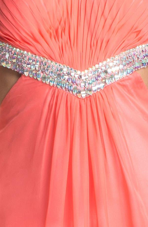Alternate Image 3  - La Femme Embellished Sweetheart Chiffon Gown