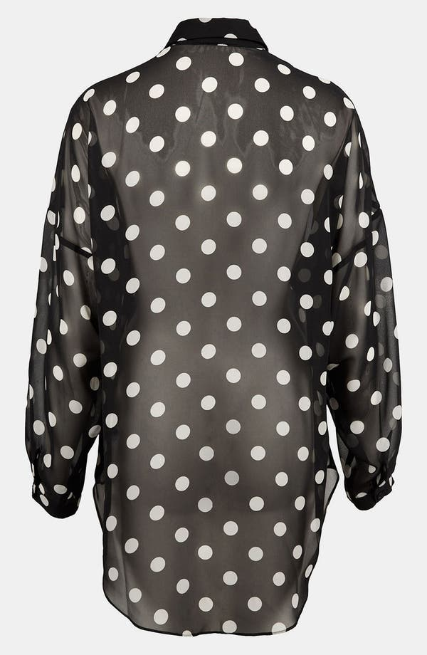 Alternate Image 2  - Topshop Sheer Polka Dot Shirt