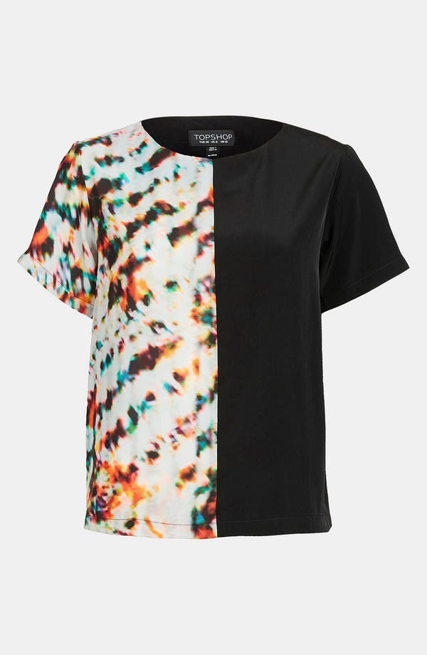 Alternate Image 1 Selected - Topshop 'Half & Half' Mixed Print Tee