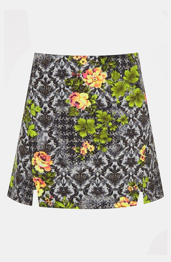 Main Image - Topshop 'Acid Leaf' A-Line Skirt