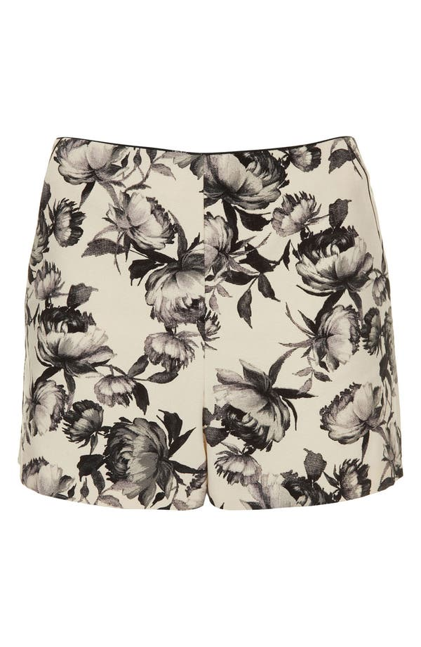 'Mono Floral' Print Shorts,                         Main,                         color, Ivory